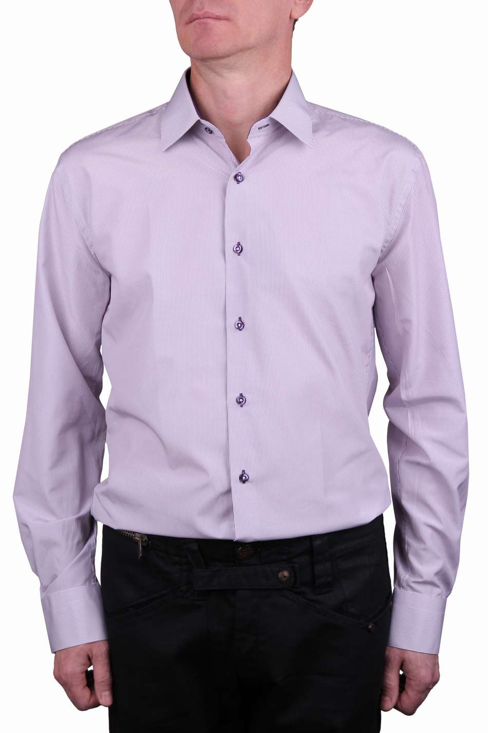 846d0e29bd26a12 Рубашки мужская сиреневая с фиолетовой полоской — Интернет-магазин ...